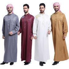 Men Dubai Clothes Muslim Thobe Abaya Robe Dishdasha Islamic Kaftan Maxi Dress