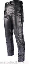 Laced Uomo Nero VERA VERA PELLE Biker in vera pelle da moto Jeans Pantaloni