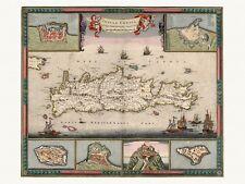 Old Antique Crete Greece decorative map de Wit ca. 1682