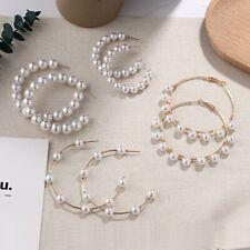 Fashion Women Elegant Pearl Circle Statement Drop Earrings Dangle Wedding Gifts