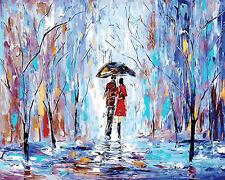 Rainy Day Under Umbralla Needlepoint Canvas H122