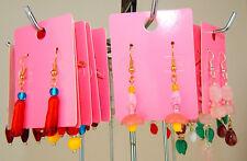 Czech Glass Earrings silver gold ear hooks Pink Yellow