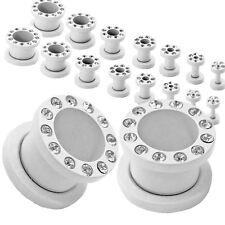 1Paar o 2er Set Flesh Tunnel Plug Strass Weiß 1,6-10mm Edelstahl Dehner Dehnstab