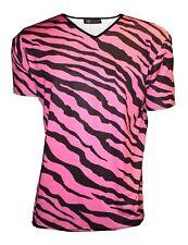 MEN'S PINK ZEBRA ANIMAL PRINT T-SHIRT TOP FANCY DRESS COSTUME GOTH PUNK EMO