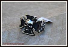 Bague Chevalière Maltese Cross / Skull ~ Taille 8 à 13  punk gothique biker  524