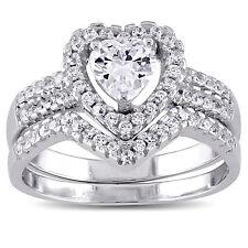 Sterling Silver Cubic Zirconia Bridal Heart Halo Wedding Ring Set