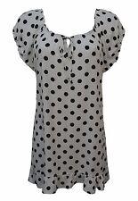 New Women Ladies Spot Frill Elastic Arm KeyWhole Neck Smock Top Plus Size 14-28
