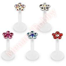 16g 8mm 3mm CZ Flower Bio-Flex Labret Monroe Bar Ring Body Piercing Jewellery