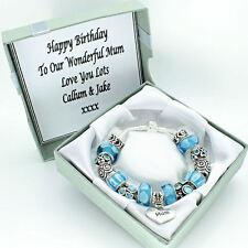 Womens Jewellery Aqua Blue Bracelet PERSONALISED BOX Birthday Anniversary Gifts