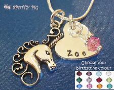 Personalizado Unicornio & Corazón Nombre+Collar Con Piedra De Nacimiento