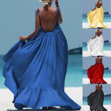 Women Boho Maxi Sleeveless Long Backless Evening Party Beach Dress Sundress CA