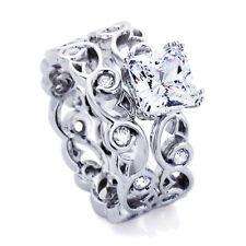 Women Silver 1.5ct Cushion CZ Filigree Band Wedding Engagement Ring Bridal Set