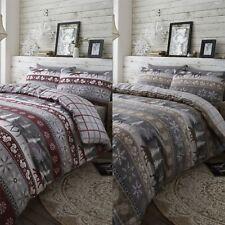 HLC 100% Brushed Cotton Nordic Scandi Hygge Warm Reversible Duvet Cover Set