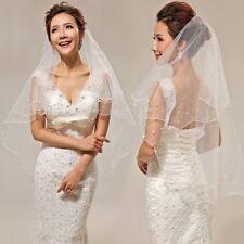 Pearl Wedding Dress Veil Layers Tulle Ribbon Edge Bridal Veils Women Accessories