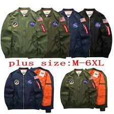 Men's US NASA MA1 Flight Bomber Army Coat Baseball Thick Casual Jacket Outwear