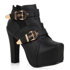 Sexy Damen Stiefeletten Plateau Boots Schnallen 74048 Schuhe