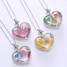 LC _ Moda Mujer Secado Flor Corazón de Cristal Amor Collar con Medallón Jewelr