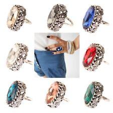 Edelstahl Ring großer ovaler glänzender Stein Modeschmuck Luxus Strass