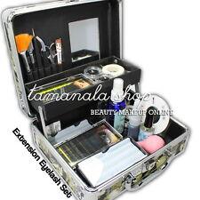 Professional False Extension Eyelash Glue Brush Kit Set with Box Case Salon Tool