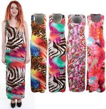 Damen Leopard Tier Federn Aufdruck Multifarben Maxi Lang Bodycon Damen Kleid