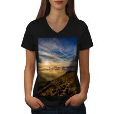 Sky Clouds Summit Nature Women V-Neck T-shirt NEW   Wellcoda