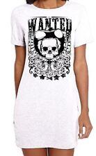 Wanted Poster Skull Large Print Women's T-Shirt Dress - Cowboy Fancy Dress