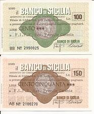 02-1977 BANCO DI SICILIA CATANIA COPPIA MINI ASSEGNI L. 100 + L. 150 A FIPE FDS