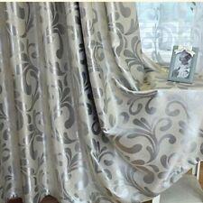Pinch Pleat Window Curtains European Style Room DARKENING Drape Silver Scroll
