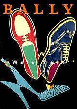 Bally 1952 Neon Shoes Vintage Poster Print Fashion Advertisement Free US Post
