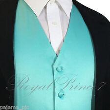 Turquoise Men's XS to 6XL Solid Tuxedo Suit Dress Vest Waistcoat Wedding Party