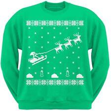 Flying Santa Sleigh Ugly Christmas Sweater Green Adult Sweatshirt