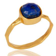 Natural Lapis Lazuli Stackable Ring Hamdmade 925 Silver Gemstone Jewelry