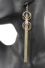 Women Long Gold Metal Chain Fringes Big Fashion Hook Earrings Set Spider Web Net