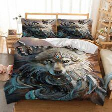 Warrior King Wolf Quilt Duvet Doona Cover Set Double Queen King Size Bed Animal