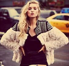 women ladies white Rabbit fur white jacket rivet punk coat jackets outwear