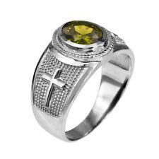 Sterling Silver Christian Cross August Birthstone Peridot CZ Ring