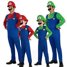 Mens Boys Girl Super Mario and Luigi Bros Fancy Dress Halloween Costume Plumber