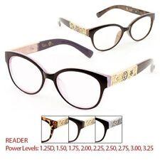Women's Reading Reader Glasses Clear Lens Fancy Temple Power Glasses Eyewear