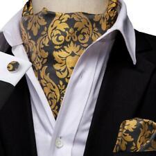 f71873d80de64 USA Gold Floral Mens Silk Ascot Cravat Tie Set Jacquard Hanky Cufflink  Wedding