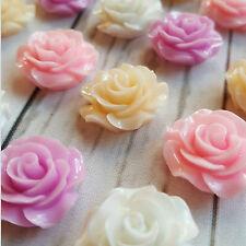 10 x 14mm / 20mm Resin Roses Flatback Cabachon Wedding Cream White Pink Cabochon