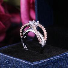 Gorgeous Two Tone 925 Silver Rings Women White Sapphire Wedding Ring Size 6-10