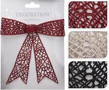 36 cm Géant cadeau de Noël bow Babiole Glitter Bow Hanging Décoration de Noël