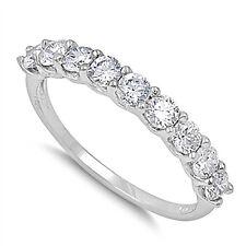 Sterling Silver .925 Round Cut Bridal CZ Anniversary Wedding Band Ring 4-10