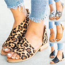 84bebf04122 Women Leopard Print Peep Toe Low Heel Sandals Ladies Summer Casual Shoes  Size