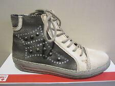 Rieker Stiefel mit Reißverschluss, beige/grau Stofffutter, NEU
