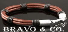 Custom Made Sterling Silver Leather NEW Wristband Bangle Men Bracelet 5B-035