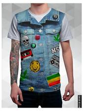 Mission Brand weed patch hippie denim vest rock T-shirt  Size M, L New