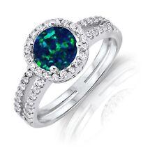Round Cut Dark Blue Fire Opal Halo Wedding CZ Engagement Silver Ring Size 4 - 12