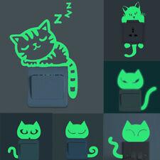 Cute Creative Kitten Cat Luminous Noctilucent Glow Switch Wall Sticker Home Flat