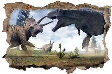 Dinosaurier Kampf T-Rex Dino Urzeit Wandtattoo Wandsticker Wandaufkleber D0571